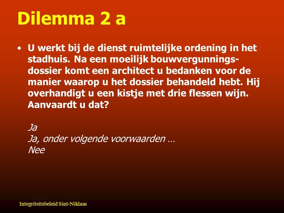 Integriteitsbeleid Sint-Niklaas Dilemma 2 a U werkt bij de dienst ruimtelijke ordening in het stadhuis.