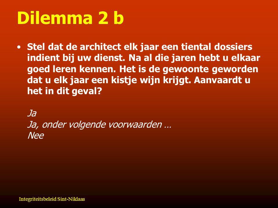 Integriteitsbeleid Sint-Niklaas Dilemma 2 b Stel dat de architect elk jaar een tiental dossiers indient bij uw dienst.