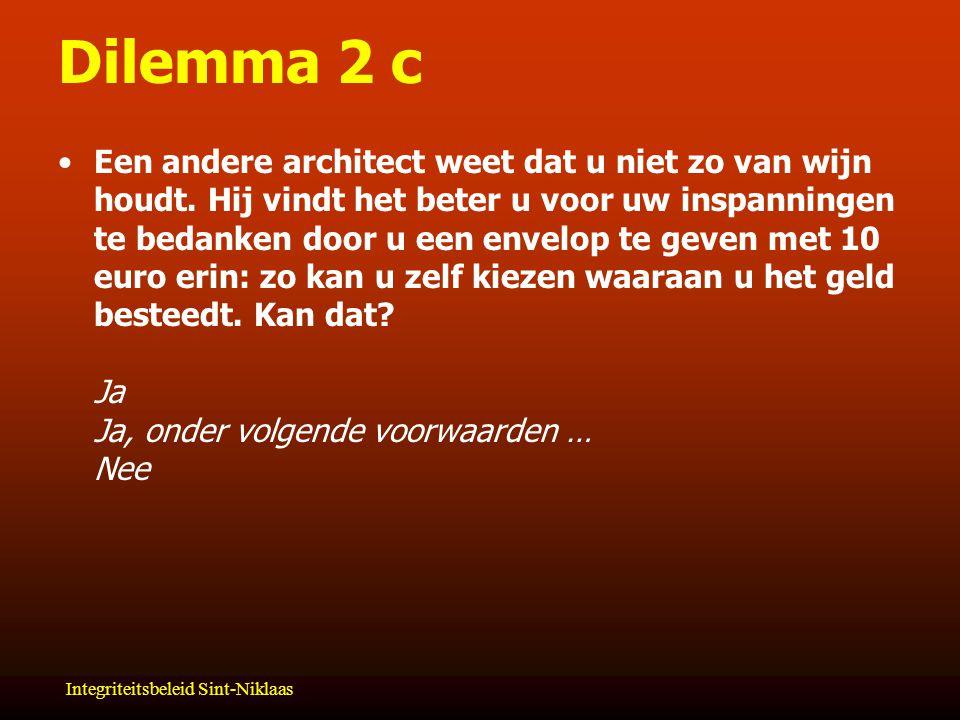 Integriteitsbeleid Sint-Niklaas Dilemma 2 c Een andere architect weet dat u niet zo van wijn houdt.