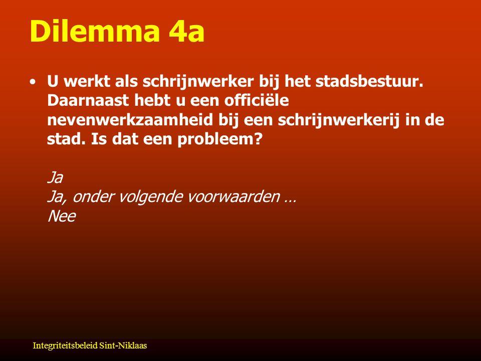 Integriteitsbeleid Sint-Niklaas Dilemma 4a U werkt als schrijnwerker bij het stadsbestuur.