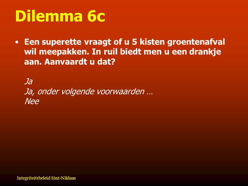 Integriteitsbeleid Sint-Niklaas Dilemma 6c Een superette vraagt of u 5 kisten groentenafval wil meepakken.