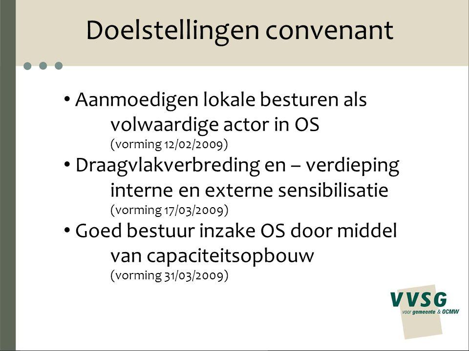 Doelstellingen convenant Aanmoedigen lokale besturen als volwaardige actor in OS (vorming 12/02/2009) Draagvlakverbreding en – verdieping interne en e