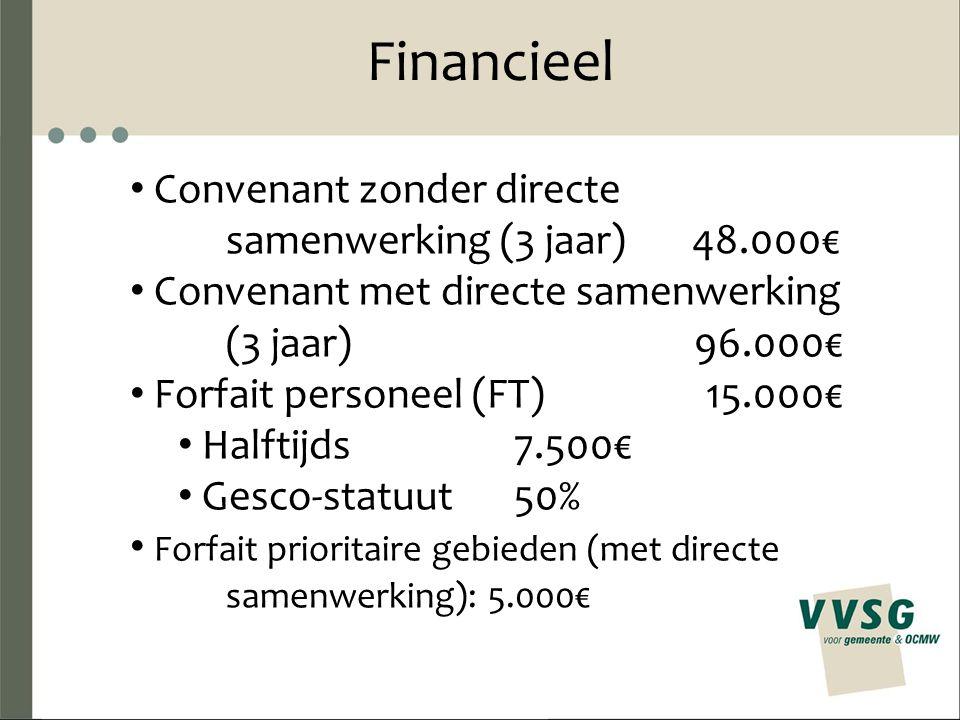 Financieel Convenant zonder directe samenwerking (3 jaar) 48.000€ Convenant met directe samenwerking (3 jaar) 96.000€ Forfait personeel (FT)15.000€ Halftijds7.500€ Gesco-statuut50% Forfait prioritaire gebieden (met directe samenwerking): 5.000€