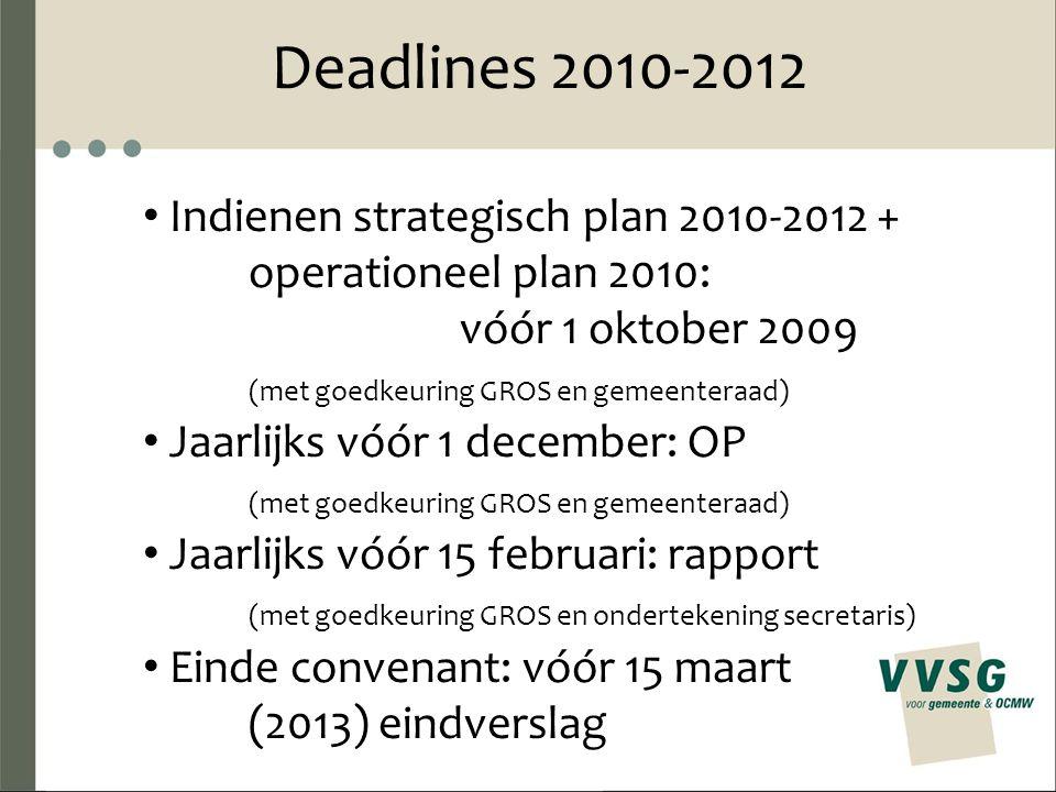 Deadlines 2010-2012 Indienen strategisch plan 2010-2012 + operationeel plan 2010: vóór 1 oktober 2009 (met goedkeuring GROS en gemeenteraad) Jaarlijks vóór 1 december: OP (met goedkeuring GROS en gemeenteraad) Jaarlijks vóór 15 februari: rapport (met goedkeuring GROS en ondertekening secretaris) Einde convenant: vóór 15 maart (2013) eindverslag