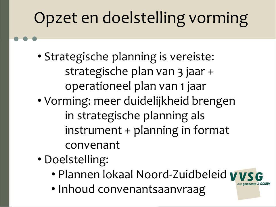 Opzet en doelstelling vorming Strategische planning is vereiste: strategische plan van 3 jaar + operationeel plan van 1 jaar Vorming: meer duidelijkheid brengen in strategische planning als instrument + planning in format convenant Doelstelling: Plannen lokaal Noord-Zuidbeleid Inhoud convenantsaanvraag