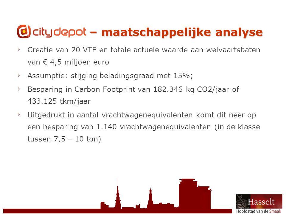 © 2011 Stad Hasselt CityDepot – maatschappelijke analyse Creatie van 20 VTE en totale actuele waarde aan welvaartsbaten van € 4,5 miljoen euro Assumptie: stijging beladingsgraad met 15%; Besparing in Carbon Footprint van 182.346 kg CO2/jaar of 433.125 tkm/jaar Uitgedrukt in aantal vrachtwagenequivalenten komt dit neer op een besparing van 1.140 vrachtwagenequivalenten (in de klasse tussen 7,5 – 10 ton)
