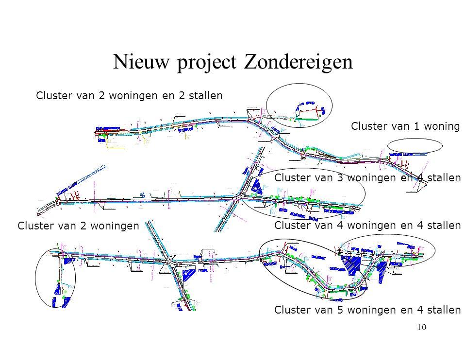10 Nieuw project Zondereigen Cluster van 2 woningen Cluster van 5 woningen en 4 stallen Cluster van 4 woningen en 4 stallen Cluster van 3 woningen en