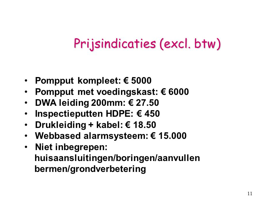 11 Prijsindicaties (excl.