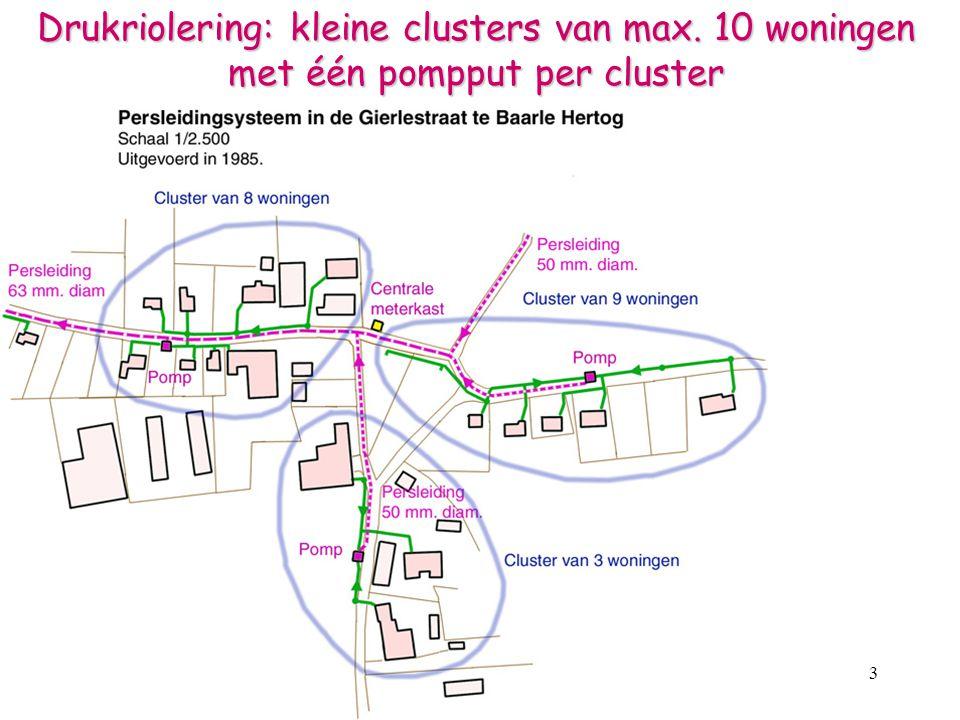 4 Drukriolering in Baarle Hertog en Baarle Nassau - 300 drukrioolpompen, inclusief besturingskast - DWA-leidingen naar de pompputten, pvc-buizen  160 mm - huisaansluitingen diameter 125 mm - drukleidingen diameter 50 en 63mm (dikwandig) - centrale meterkasten - pompputten: 2,21m³ inhoud = 2 dagen buffer/interventietijd Het totale systeem kostte in 1985-1987 : 180 miljoen fr.