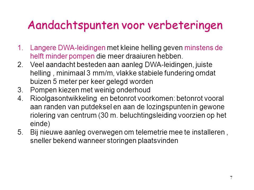 7 Aandachtspunten voor verbeteringen 1.Langere DWA-leidingen met kleine helling geven minstens de helft minder pompen die meer draaiuren hebben. 2.Vee