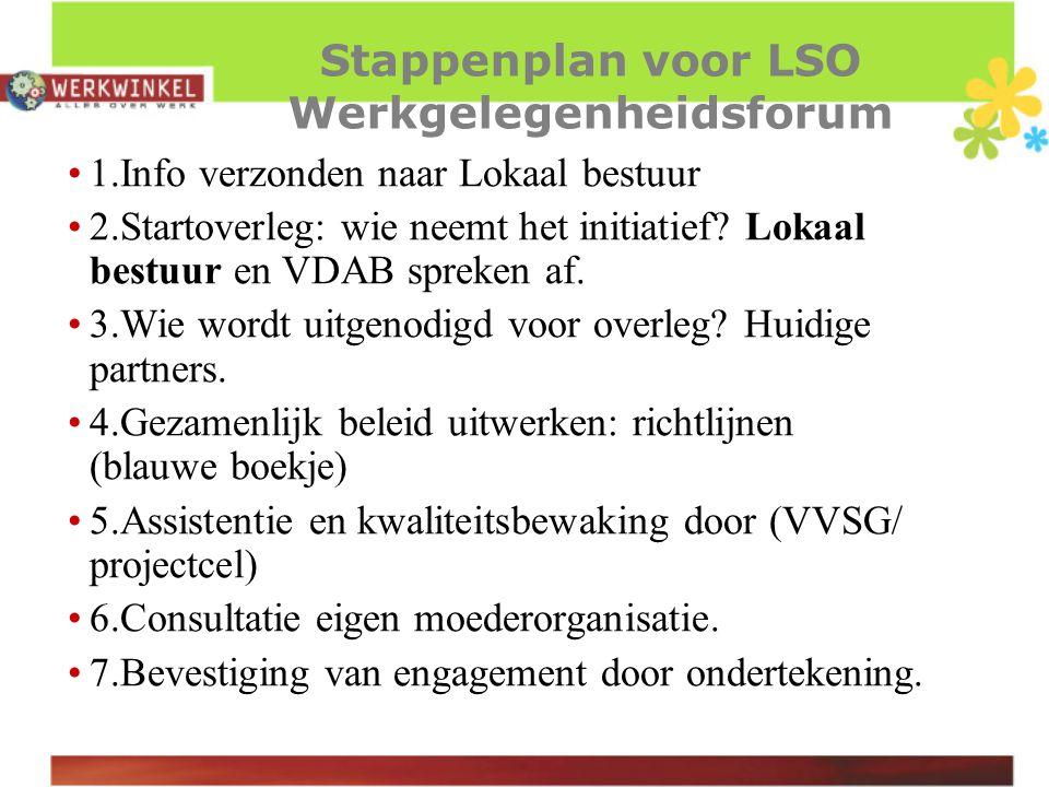 Stappenplan voor LSO Werkgelegenheidsforum 1.Info verzonden naar Lokaal bestuur 2.Startoverleg: wie neemt het initiatief.