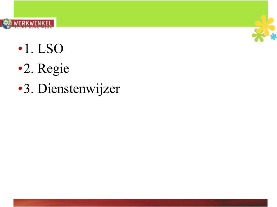 1. LSO 2. Regie 3. Dienstenwijzer