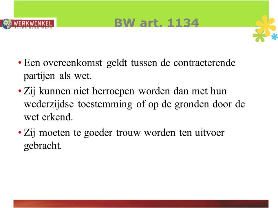 BW art. 1134 Een overeenkomst geldt tussen de contracterende partijen als wet.