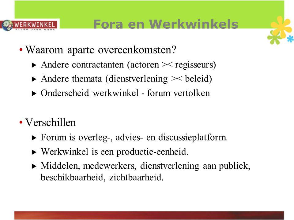 Fora en Werkwinkels Waarom aparte overeenkomsten.