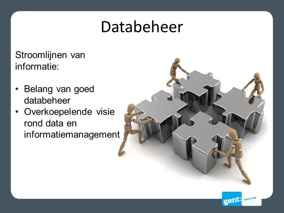 Databeheer Stroomlijnen van informatie: Belang van goed databeheer Overkoepelende visie rond data en informatiemanagement