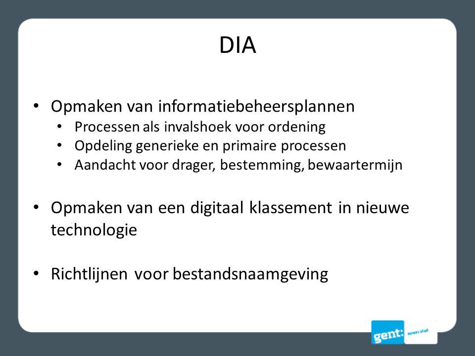 DIA Opmaken van informatiebeheersplannen Processen als invalshoek voor ordening Opdeling generieke en primaire processen Aandacht voor drager, bestemming, bewaartermijn Opmaken van een digitaal klassement in nieuwe technologie Richtlijnen voor bestandsnaamgeving