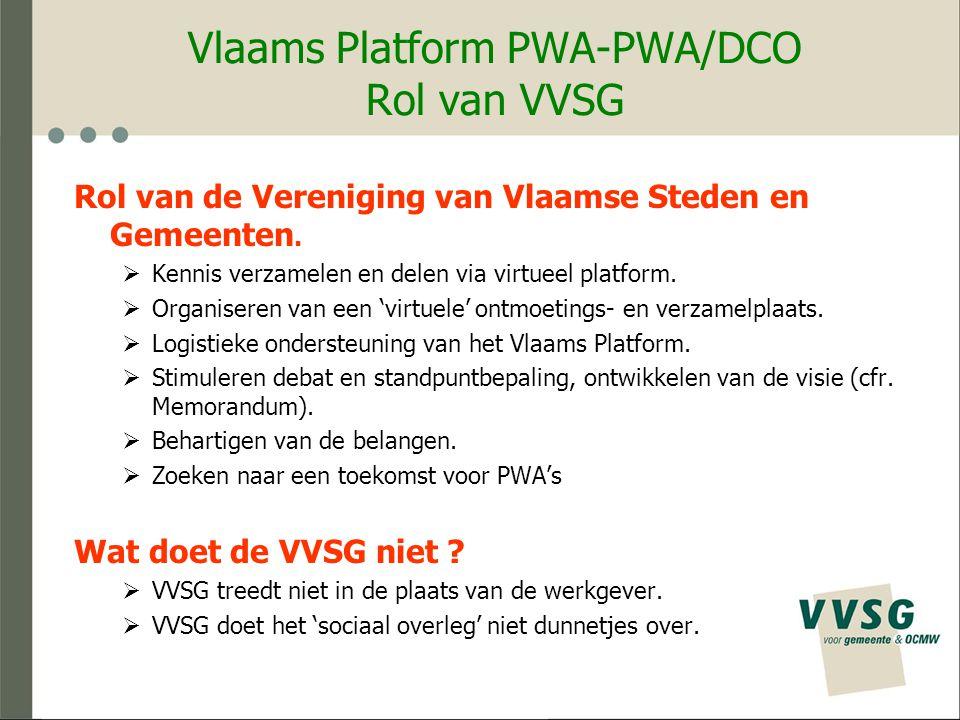 Vlaams Platform PWA-PWA/DCO Rol van VVSG Rol van de Vereniging van Vlaamse Steden en Gemeenten.