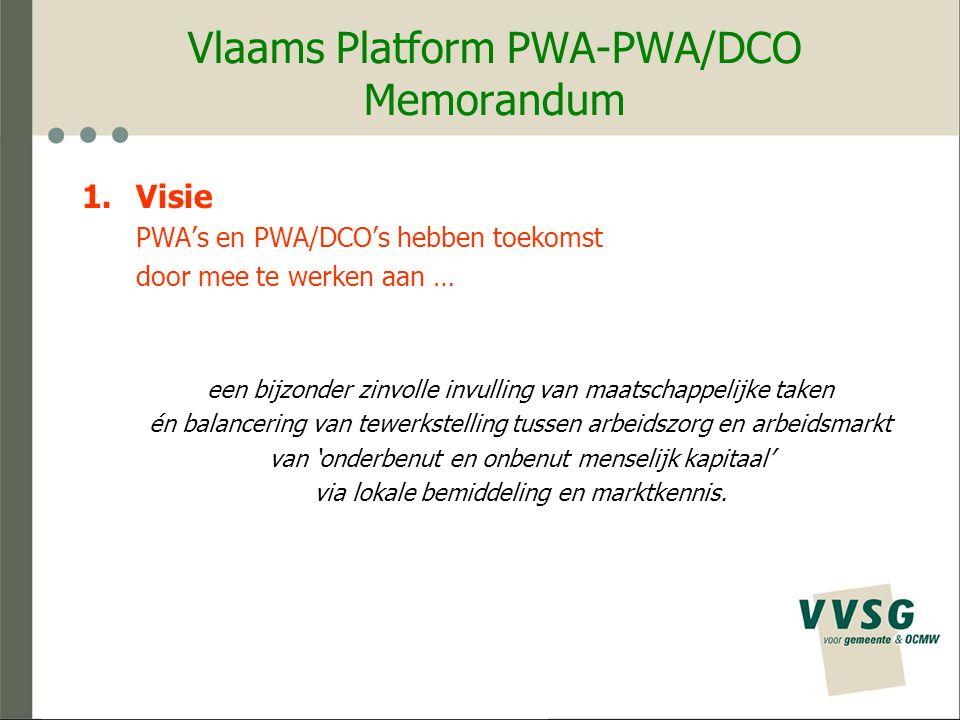 Vlaams Platform PWA-PWA/DCO Organisatiemodel Formaliseren van het Vlaams Platform PWA-PWA/DCO.