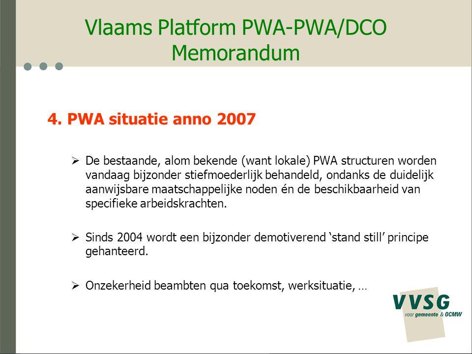Vlaams Platform PWA-PWA/DCO Feitelijke vereniging - voorstel Dagelijks Bestuur 5 leden :  Voorzitter  Ondervoorzitter  2 mensen uit Bestuur van de 'feitelijke vereniging (minstens 1 PWA beambte)  1 VVSG