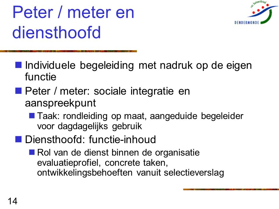 14 Peter / meter en diensthoofd Individuele begeleiding met nadruk op de eigen functie Peter / meter: sociale integratie en aanspreekpunt Taak: rondle