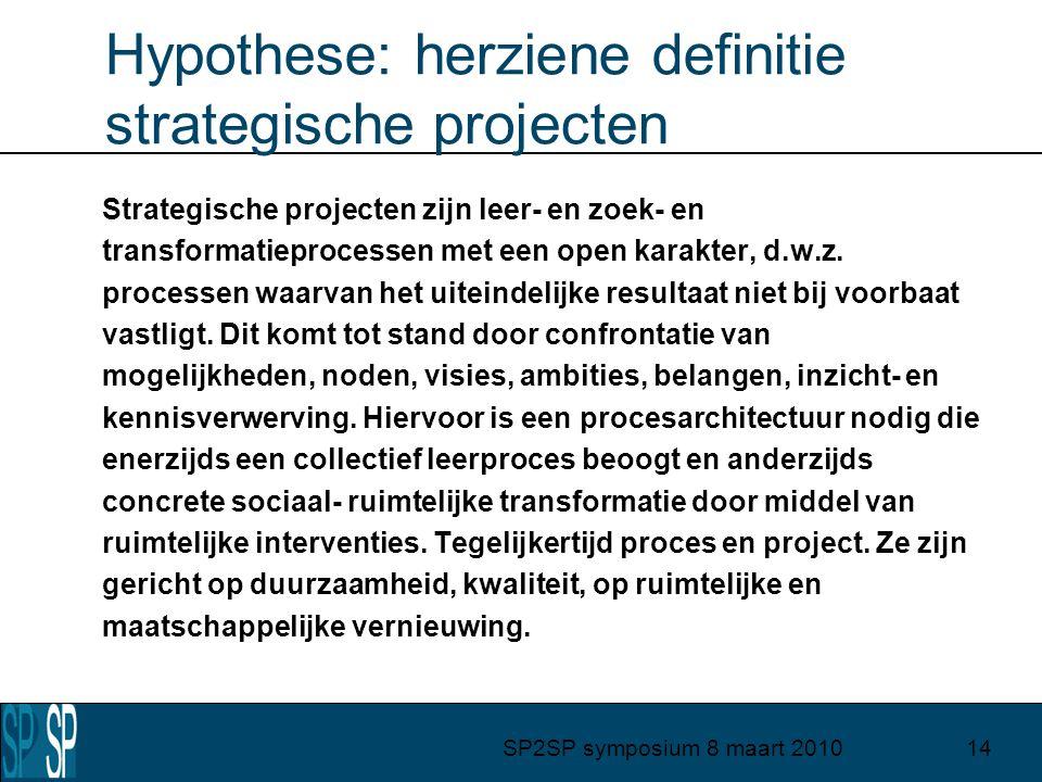 SP2SP symposium 8 maart 201014 Hypothese: herziene definitie strategische projecten Strategische projecten zijn leer- en zoek- en transformatieprocessen met een open karakter, d.w.z.