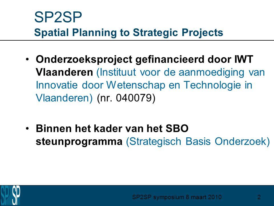 SP2SP symposium 8 maart 20102 SP2SP Spatial Planning to Strategic Projects Onderzoeksproject gefinancieerd door IWT Vlaanderen (Instituut voor de aanmoediging van Innovatie door Wetenschap en Technologie in Vlaanderen) (nr.