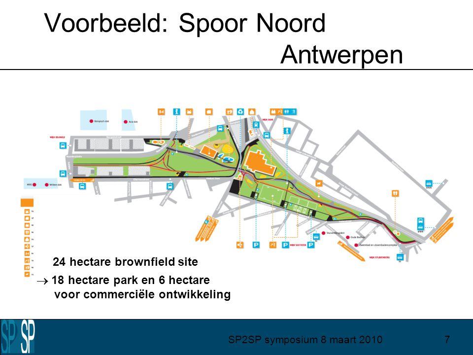 SP2SP symposium 8 maart 20107 24 hectare brownfield site  18 hectare park en 6 hectare voor commerciële ontwikkeling Voorbeeld: Spoor Noord Antwerpen