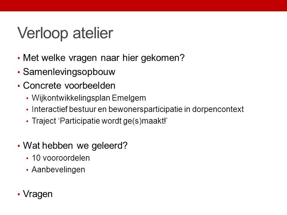 Interactief bestuur en bewonersparticipatie Enkele resultaten Herbestemming oud schooltje Oostkerke Participatie van A tot Z i.s.m.