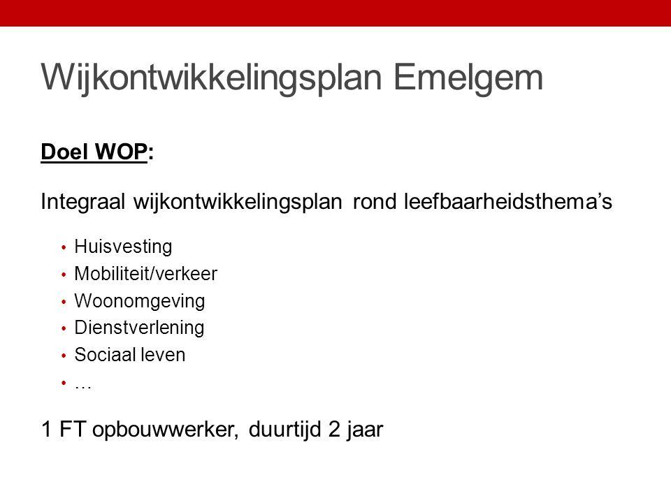 Wijkontwikkelingsplan Emelgem Aanpak: 1.Objectieve analyse (i.s.m.