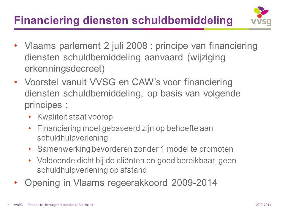 VVSG - Financiering diensten schuldbemiddeling Vlaams parlement 2 juli 2008 : principe van financiering diensten schuldbemiddeling aanvaard (wijziging erkenningsdecreet) Voorstel vanuit VVSG en CAW's voor financiering diensten schuldbemiddeling, op basis van volgende principes : Kwaliteit staat voorop Financiering moet gebaseerd zijn op behoefte aan schuldhulpverlening Samenwerking bevorderen zonder 1 model te promoten Voldoende dicht bij de cliënten en goed bereikbaar, geen schuldhulpverlening op afstand Opening in Vlaams regeerakkoord 2009-2014 Pas aan bij: Invoegen / Koptekst en Voettekst14 -27-7-2014