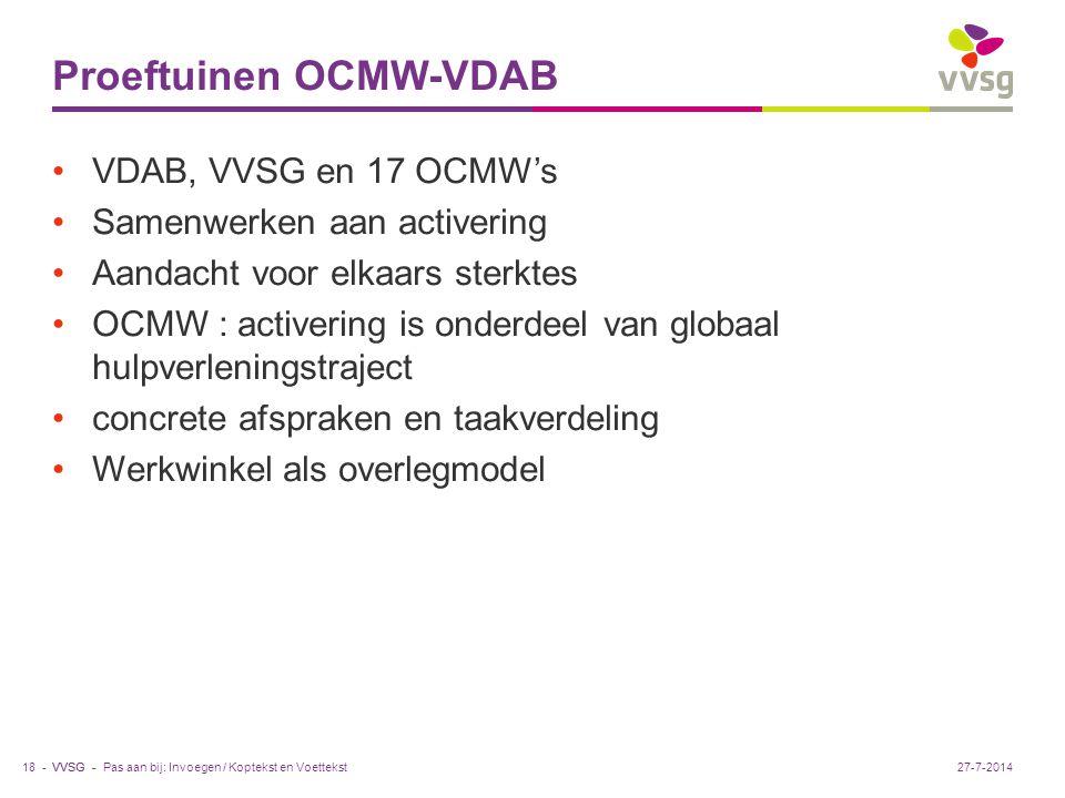 VVSG - Proeftuinen OCMW-VDAB VDAB, VVSG en 17 OCMW's Samenwerken aan activering Aandacht voor elkaars sterktes OCMW : activering is onderdeel van globaal hulpverleningstraject concrete afspraken en taakverdeling Werkwinkel als overlegmodel Pas aan bij: Invoegen / Koptekst en Voettekst18 -27-7-2014
