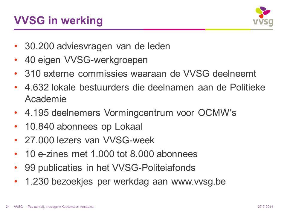 VVSG - VVSG in werking 30.200 adviesvragen van de leden 40 eigen VVSG-werkgroepen 310 externe commissies waaraan de VVSG deelneemt 4.632 lokale bestuurders die deelnamen aan de Politieke Academie 4.195 deelnemers Vormingcentrum voor OCMW s 10.840 abonnees op Lokaal 27.000 lezers van VVSG-week 10 e-zines met 1.000 tot 8.000 abonnees 99 publicaties in het VVSG-Politeiafonds 1.230 bezoekjes per werkdag aan www.vvsg.be Pas aan bij: Invoegen / Koptekst en Voettekst24 -27-7-2014