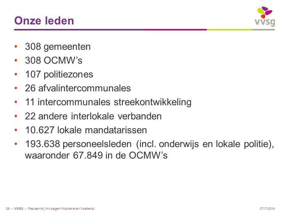 VVSG - Onze leden 308 gemeenten 308 OCMW's 107 politiezones 26 afvalintercommunales 11 intercommunales streekontwikkeling 22 andere interlokale verbanden 10.627 lokale mandatarissen 193.638 personeelsleden (incl.