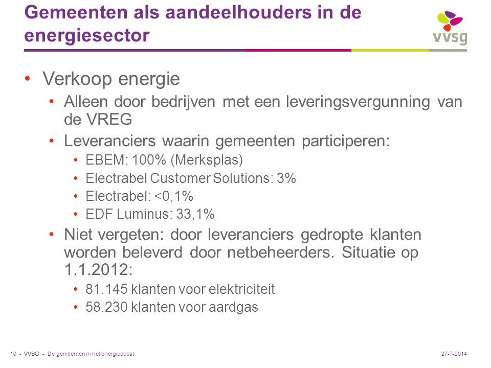 VVSG - Gemeenten als aandeelhouders in de energiesector Verkoop energie Alleen door bedrijven met een leveringsvergunning van de VREG Leveranciers waarin gemeenten participeren: EBEM: 100% (Merksplas) Electrabel Customer Solutions: 3% Electrabel: <0,1% EDF Luminus: 33,1% Niet vergeten: door leveranciers gedropte klanten worden beleverd door netbeheerders.