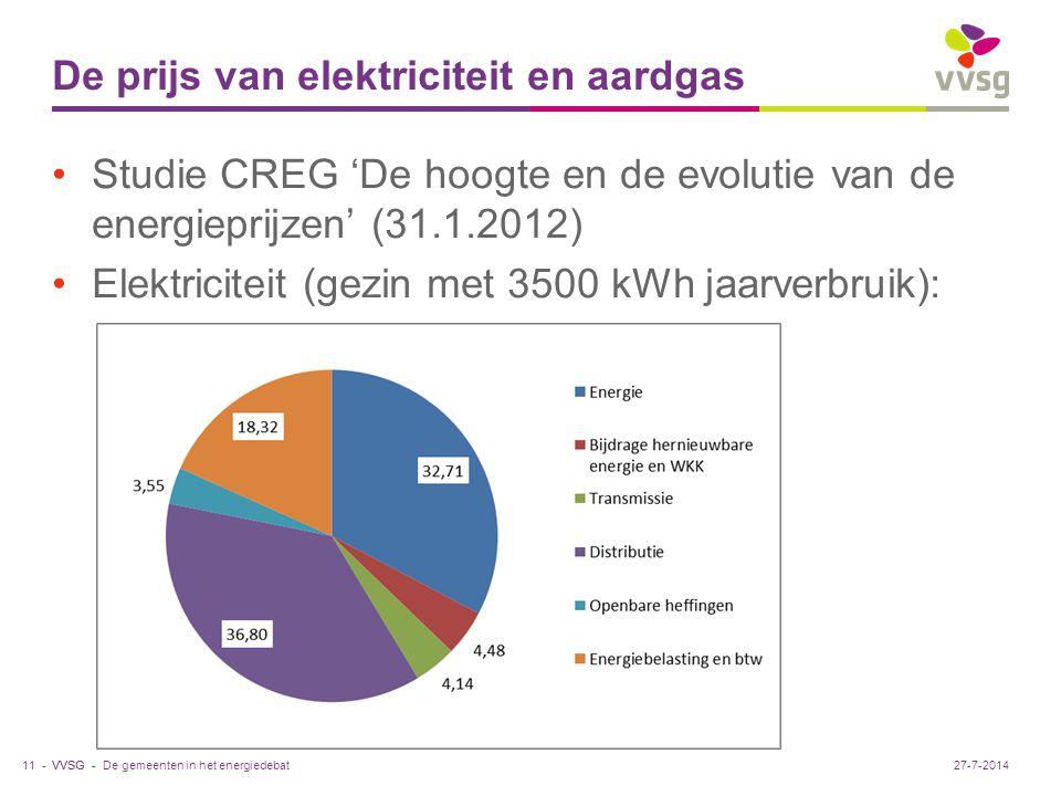 VVSG - De prijs van elektriciteit en aardgas Studie CREG 'De hoogte en de evolutie van de energieprijzen' (31.1.2012) Elektriciteit (gezin met 3500 kWh jaarverbruik): De gemeenten in het energiedebat11 -27-7-2014