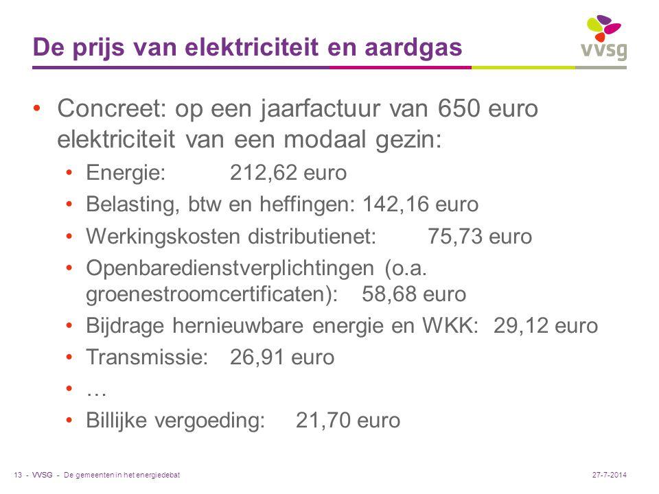 VVSG - De prijs van elektriciteit en aardgas Concreet: op een jaarfactuur van 650 euro elektriciteit van een modaal gezin: Energie:212,62 euro Belasting, btw en heffingen:142,16 euro Werkingskosten distributienet:75,73 euro Openbaredienstverplichtingen (o.a.