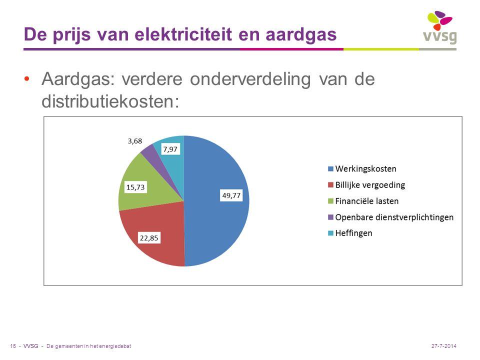 VVSG - De prijs van elektriciteit en aardgas Aardgas: verdere onderverdeling van de distributiekosten: De gemeenten in het energiedebat15 -27-7-2014
