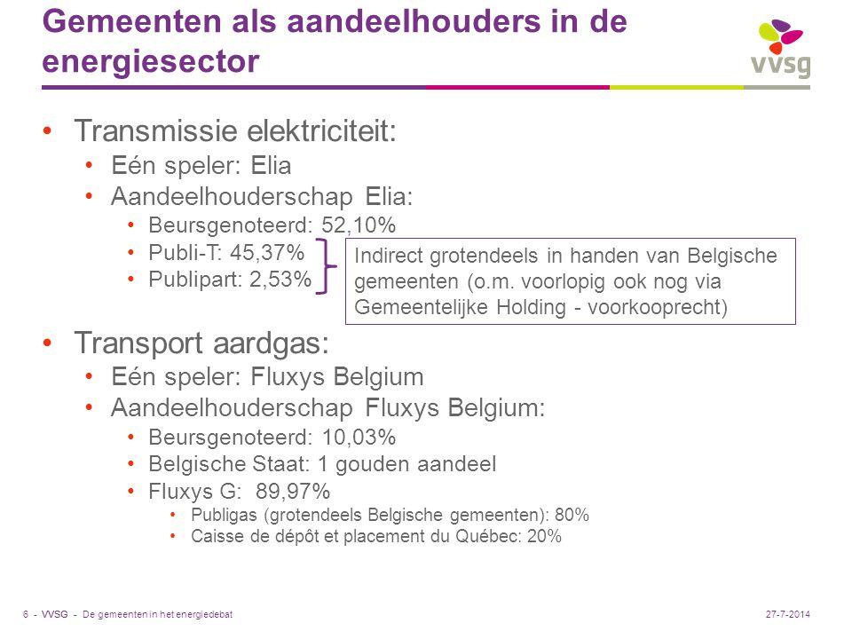 VVSG - Gemeenten als aandeelhouders in de energiesector Transmissie elektriciteit: Eén speler: Elia Aandeelhouderschap Elia: Beursgenoteerd: 52,10% Publi-T: 45,37% Publipart: 2,53% Transport aardgas: Eén speler: Fluxys Belgium Aandeelhouderschap Fluxys Belgium: Beursgenoteerd: 10,03% Belgische Staat: 1 gouden aandeel Fluxys G: 89,97% Publigas (grotendeels Belgische gemeenten): 80% Caisse de dépôt et placement du Québec: 20% De gemeenten in het energiedebat6 -27-7-2014 Indirect grotendeels in handen van Belgische gemeenten (o.m.