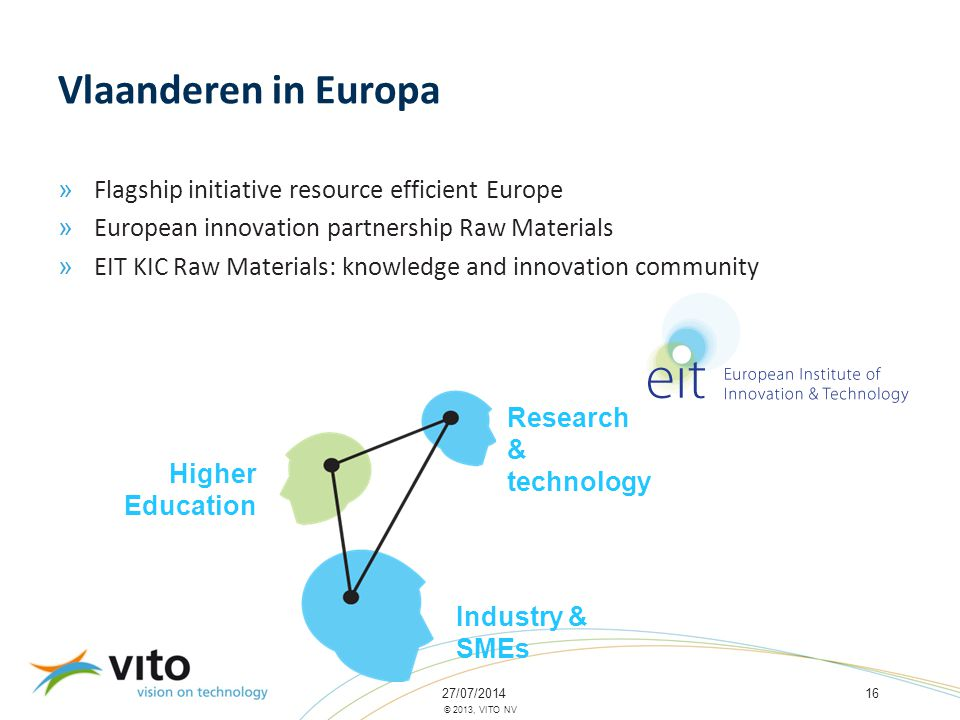 27/07/201416 © 2013, VITO NV Vlaanderen in Europa » Flagship initiative resource efficient Europe » European innovation partnership Raw Materials » EIT KIC Raw Materials: knowledge and innovation community Higher Education Research & technology Industry & SMEs