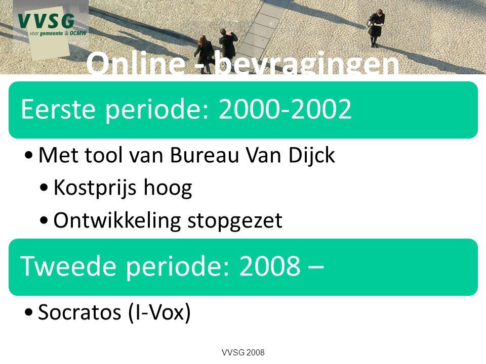 Online - bevragingen Eerste periode: 2000-2002 Met tool van Bureau Van Dijck Kostprijs hoog Ontwikkeling stopgezet Tweede periode: 2008 – Socratos (I-Vox) VVSG 2008