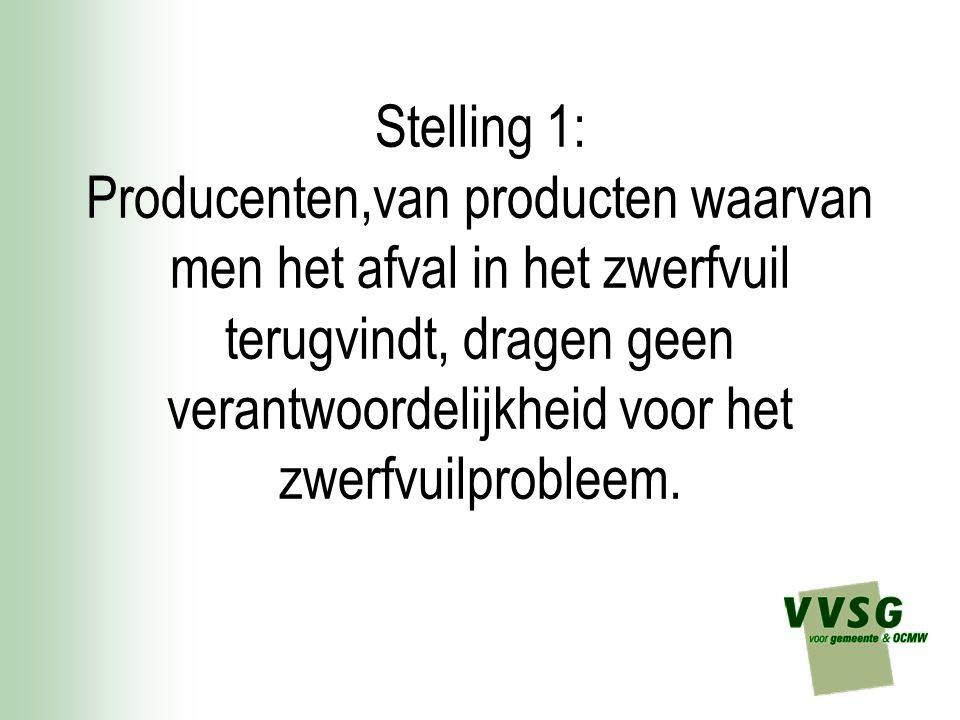 Stelling 1: Producenten,van producten waarvan men het afval in het zwerfvuil terugvindt, dragen geen verantwoordelijkheid voor het zwerfvuilprobleem.
