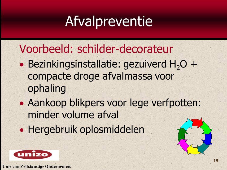 Unie van Zelfstandige Ondernemers 16 Afvalpreventie Voorbeeld: schilder-decorateur  Bezinkingsinstallatie: gezuiverd H 2 O + compacte droge afvalmass