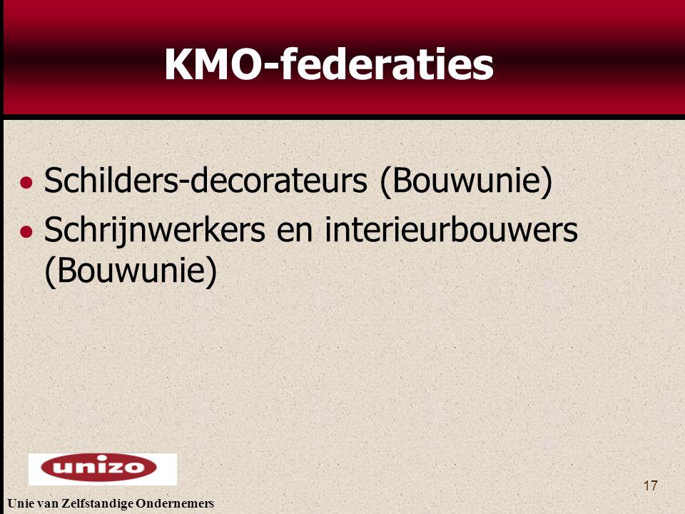 Unie van Zelfstandige Ondernemers 17 KMO-federaties  Schilders-decorateurs (Bouwunie)  Schrijnwerkers en interieurbouwers (Bouwunie)