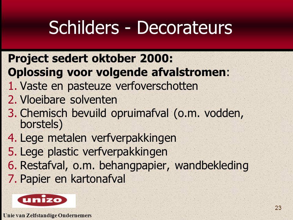 Unie van Zelfstandige Ondernemers 23 Schilders - Decorateurs Project sedert oktober 2000: Oplossing voor volgende afvalstromen: 1.Vaste en pasteuze ve