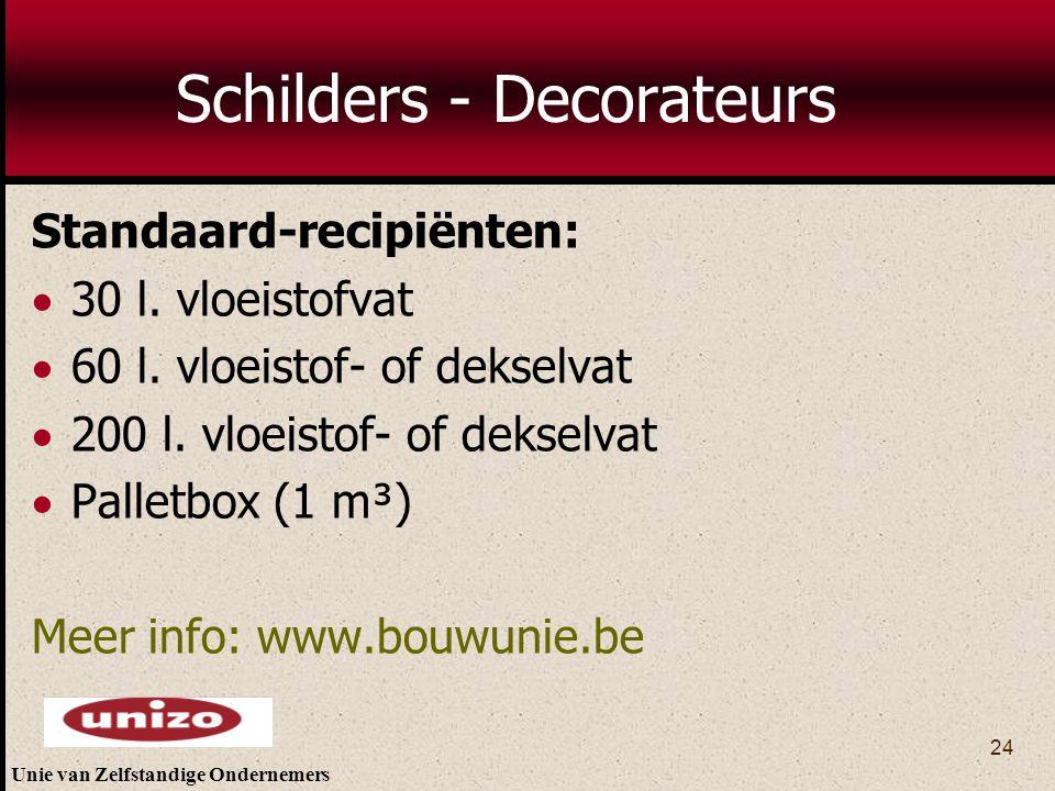 Unie van Zelfstandige Ondernemers 24 Schilders - Decorateurs Standaard-recipiënten:  30 l. vloeistofvat  60 l. vloeistof- of dekselvat  200 l. vloe