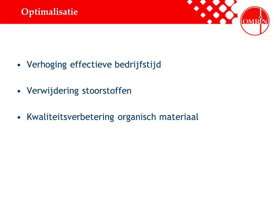 Optimalisatie Verhoging effectieve bedrijfstijd Verwijdering stoorstoffen Kwaliteitsverbetering organisch materiaal