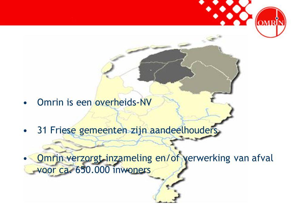 Omrin is een overheids-NV 31 Friese gemeenten zijn aandeelhouders Omrin verzorgt inzameling en/of verwerking van afval voor ca. 650.000 inwoners