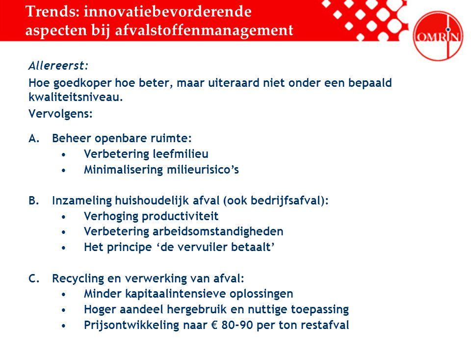 Trends: innovatiebevorderende aspecten bij afvalstoffenmanagement Allereerst: Hoe goedkoper hoe beter, maar uiteraard niet onder een bepaald kwaliteitsniveau.
