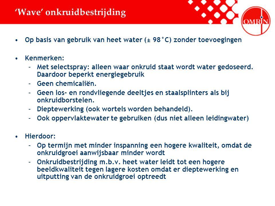 'Wave' onkruidbestrijding Op basis van gebruik van heet water (± 98°C) zonder toevoegingen Kenmerken: –Met selectspray: alleen waar onkruid staat wordt water gedoseerd.