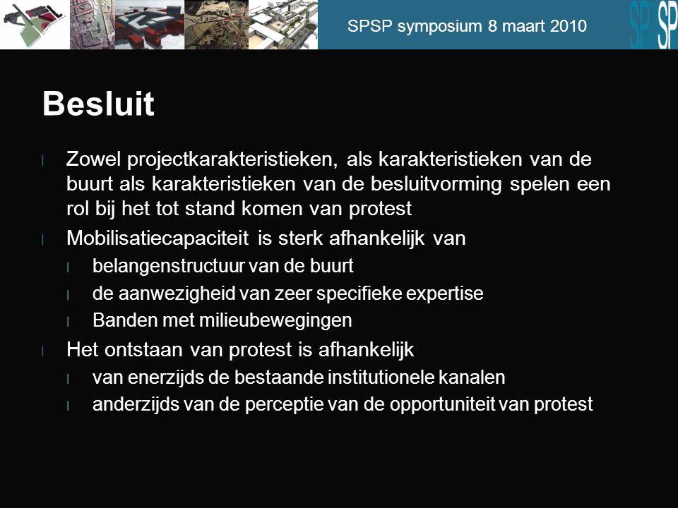 SPSP symposium 8 maart 2010 Besluit l Zowel projectkarakteristieken, als karakteristieken van de buurt als karakteristieken van de besluitvorming spel